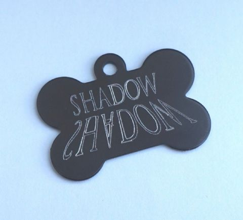 SHADOW DOG TAG PERSONALISED ENGRAVED 32MM OR 38MM COLOURED BONE DOG ID TAG